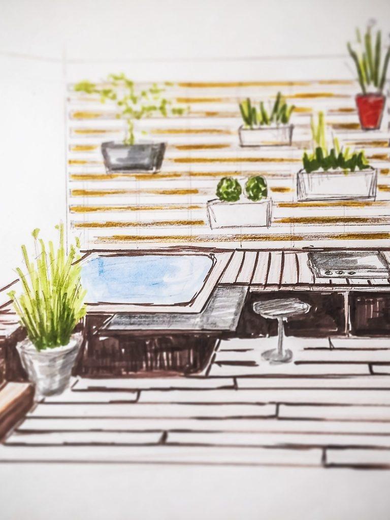 Créer votre projet d'espace extérieur en ébauche par les jardins de Damien